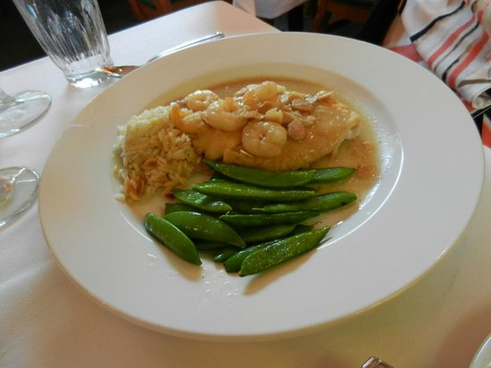 Little River Inn Dining Room: SOLE ALMONDINE pan seared sole with gulf shrimp, almonds and brown butter sauce