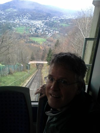 MerkurBergbahn: view looking back while going up steeply