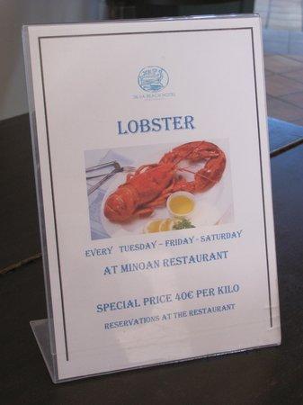 Silva Beach : The hotel is also serving Lobster per kilo....