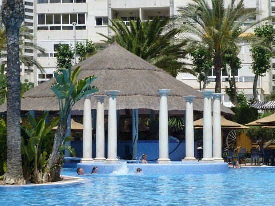 Sol Pelicanos Ocas : Lagoon pool: roped off pool bar where they film Benidorm