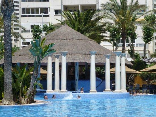Sol Pelicanos Ocas: Lagoon pool: roped off pool bar where they film Benidorm