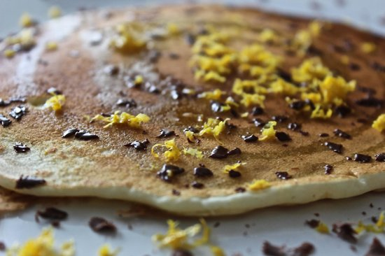 1837 Cobblestone Cottage Bed and Breakfast: Olive Oil Pancakes with Dark Chocolate and Sea Salt