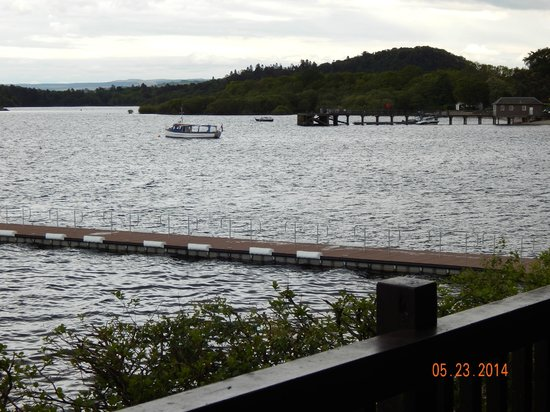 Lodge on Loch Lomond: View of the pier from the deck