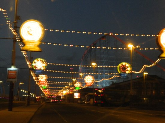 Blackpool Illuminations: some of the lights with the Big One in the back ground