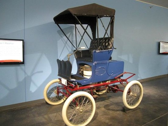 LeMay - America's Car Museum: Early electric car!  Do you know why the wheels are white?