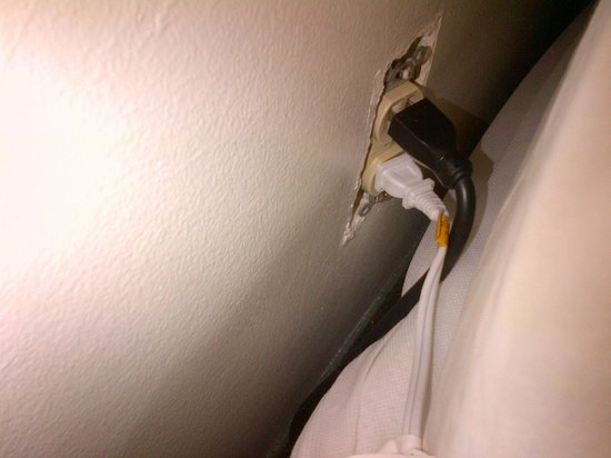 The Business Inn & Suites: Dangerous outlet right next to the bed :(