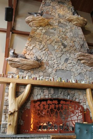 Great Wolf Lodge: main entrance - fireplace