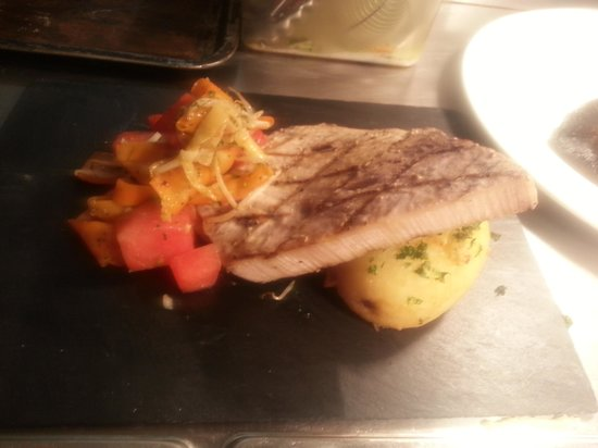 Jaspers Tea Rooms: hasselback garlic an parsly potato with watermelon stir fry and swordfish fillet