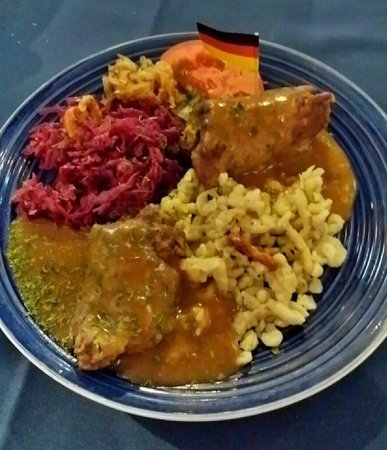 Sandra's German Restaurant: Spatzel,  red cabbage & rolled meat cutlet with bacon & pickles!! Delicious! !