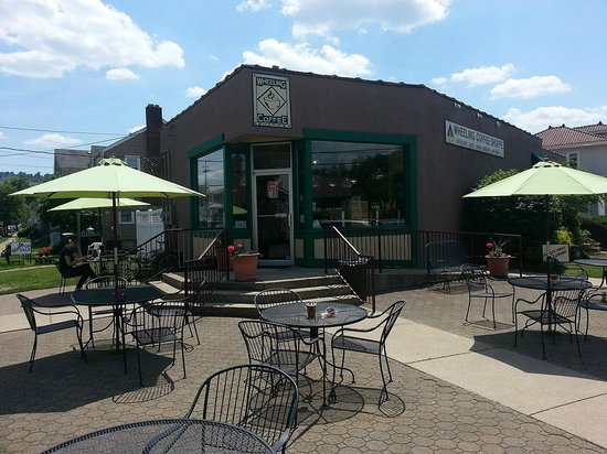 Wheeling Coffee Shoppe outdoor seating.