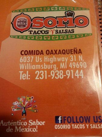 Osorio : Menu cover