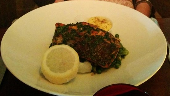 Driftwood Brasserie: Salmon Main - simple & delicious! (sorry dark photo)