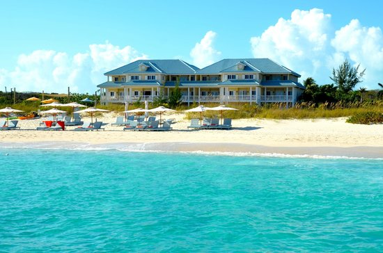 Beach House Turks & Caicos : The Beach House from a boat in Grace Bay