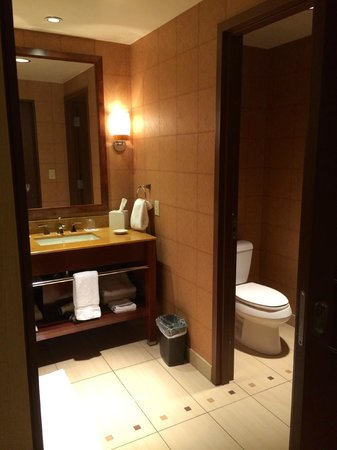 Wind Creek Casino & Hotel, Atmore: Very clean & modern bathroom with pocket door.