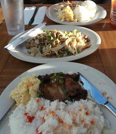 Aloha Mixed Plate: From front to back: shoyu chicken, chow funn, kalua pork