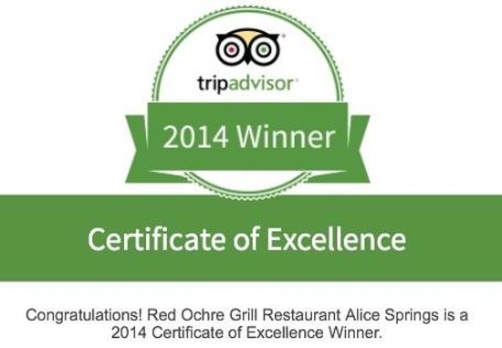 Red Ochre Grill Restaurant Alice Springs: 2014 Winner Certificate of Excellence