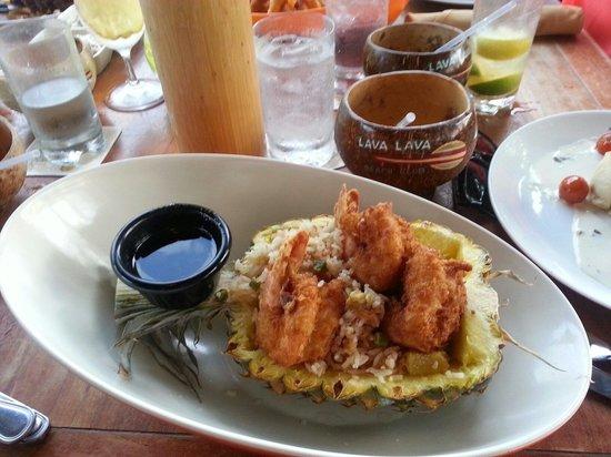 Lava Lava Beach Club: Pineapple fried rice with coconut shrimp! yum!