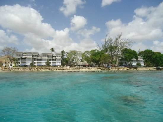 The Club, Barbados Resort and Spa: Looking back at the hotel from the speedboat