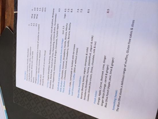 Blue Olive Cafe: menu