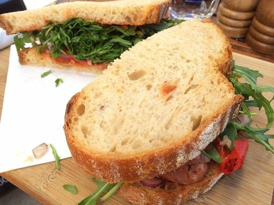 Blue Olive Cafe: banksy on hand cut sourdough