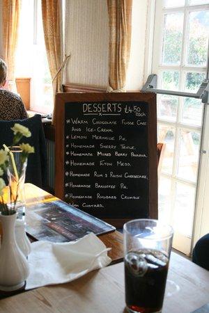 The Green Man: Dessert Menu - Sunday Lunch