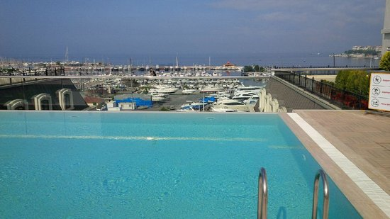 Wyndham Grand Istanbul Kalamis Marina Hotel : Roof top pool overlooking the Marina