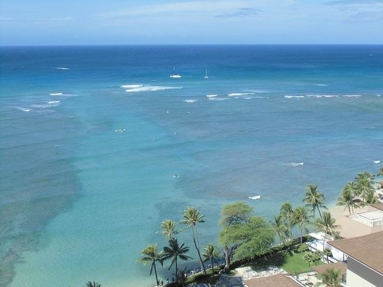 Waikiki Parc Hotel: ホテルのラナイから見たワイキキの海