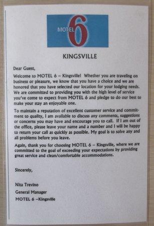 Motel 6 Kingsville: A few words.
