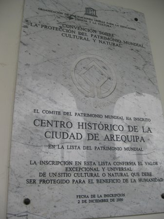 Centro Histórico de Arequipa: World Heritage Plaque