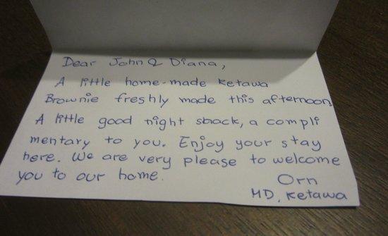 KETAWA Stylish Hotel: Sweet note from the staff