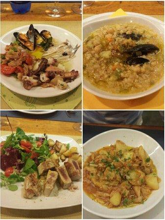 Enoteca Gustavino : Antipasto elbano, zuppa di farro, tagliata di tonno e stoccafisso pinoli olive e cipolla: top!