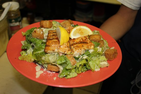 Fish Tales Market & Eatery : One of our House Salads topped with blackened fish