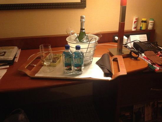 "New York Marriott Downtown: A little ""Thank You"" gift from front desk Staff"
