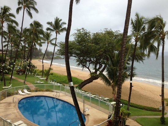 The Hale Pau Hana: View from our balcony on a cloudy day