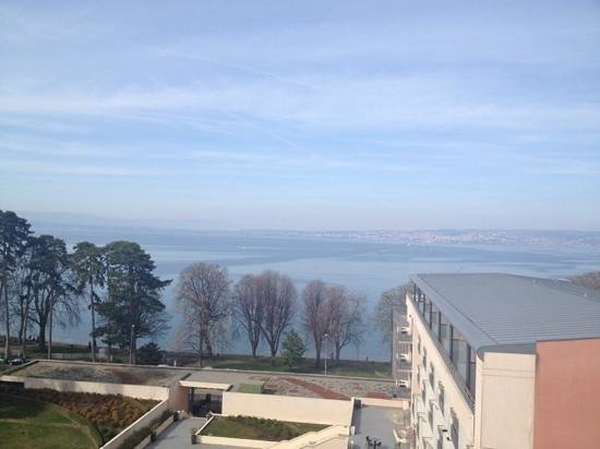 Hilton Evian-les-Bains : vue depuis la petite terrasse de la chambre