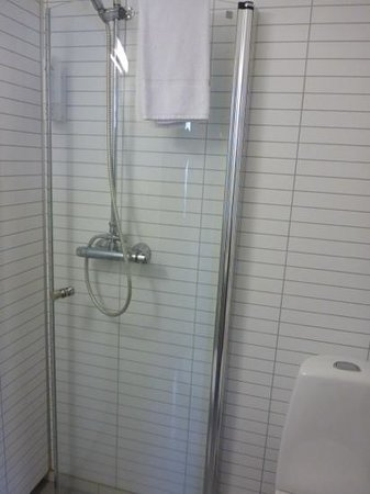 Hotel Borgarnes: Strange bathroom: shower without walls or curtains!