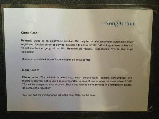 Hotel Kong Arthur: Frigo ou pas frigo ?