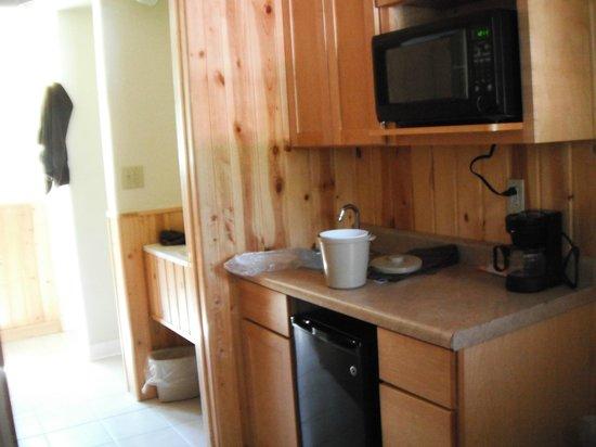 Willard Munger Inn: Kitchenette, sink, bathroom, & shower.