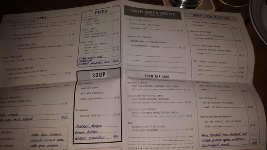 Island Creek Oyster Bar: Dinner menu