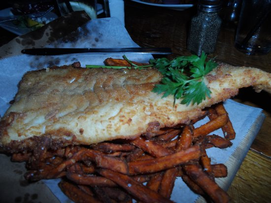 Frontier Cafe: The best fish and chips. A knife is in the picture for scale of how big this fish is.