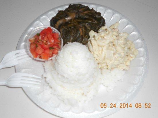 Ka'aloa's Super J's: Lau Lau,Rice,Pasta/Potato Salad & Salmon
