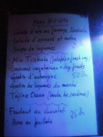 Triskala Café : menukaart buiten