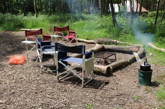 Eco Camp UK - Beech Estate Woodland Campsite: Setting up camp.