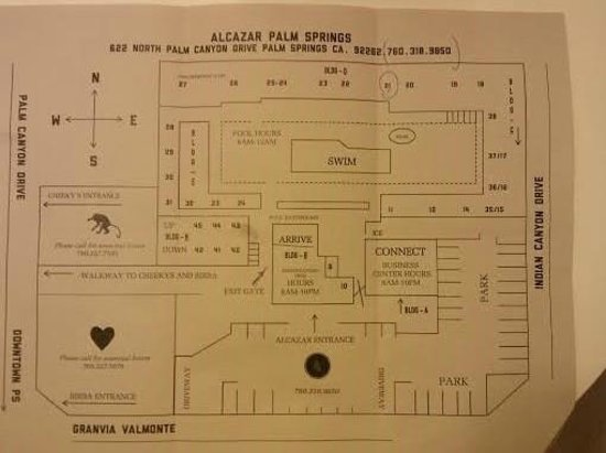 Alcazar Palm Springs: Room Map