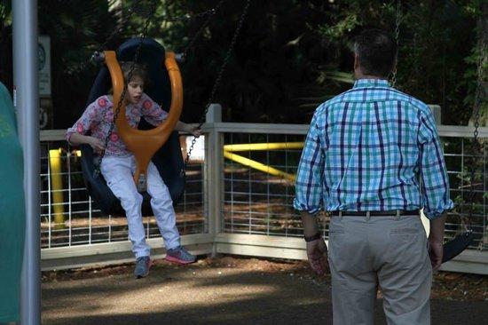 Pirate Playground: Sarah on the Swing