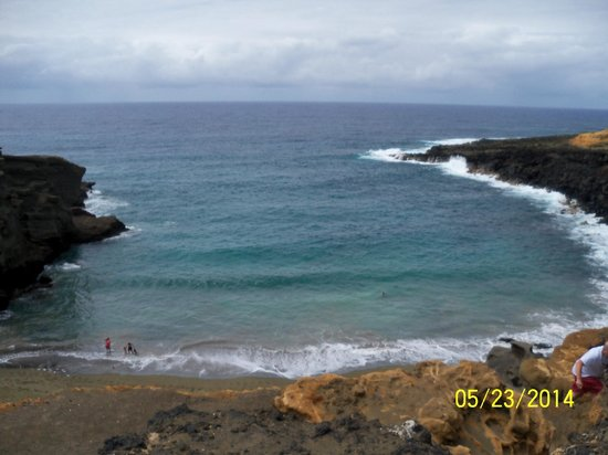 South Point (Ka Lae) et Green Sand Beach : View from atop the Green Sand Beach