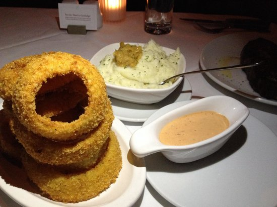 Fleming's Prime Steakhouse & Wine Bar: Signature onion rings and Garlic mashed