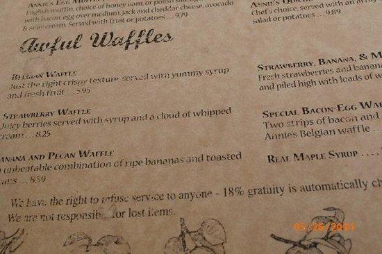 Awful Annie's : menu
