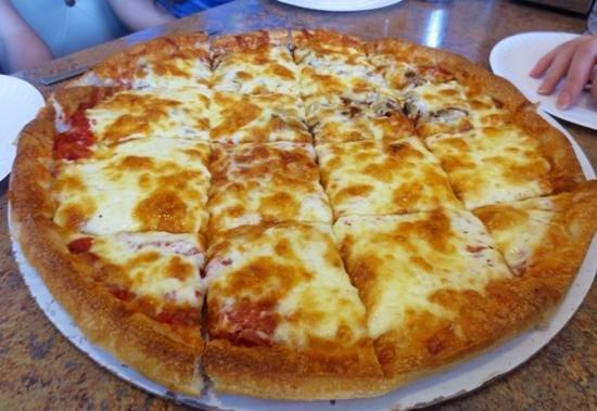 Village Pizza : Half cheese half mushrooms & pepperoni
