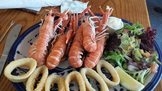 The Old Inn: Langostine and calamari platter.